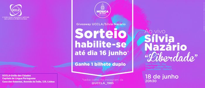 Música ao vivo na UCCLA com Sílvia Nazário - Sorteio Giveaway UCCLA/Sílvia Nazário