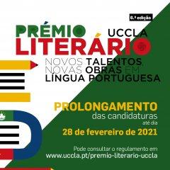 Prémio Literário UCCLA - Prolongamento do prazo de candidaturas até 28 de Fevereiro de 2021