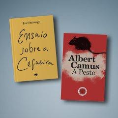 "Livros ""A Peste"" de Albert Camus e ""Ensaio sobre a Cegueira"" de José Saramago"